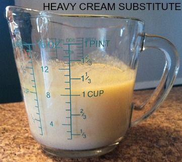 Heavy cream substitute - Pour remplacer 1 t. de crème :  3/4 t de lait et 1/3 t de beurre fondu. C'est tout!  Mélanger et utiliser.