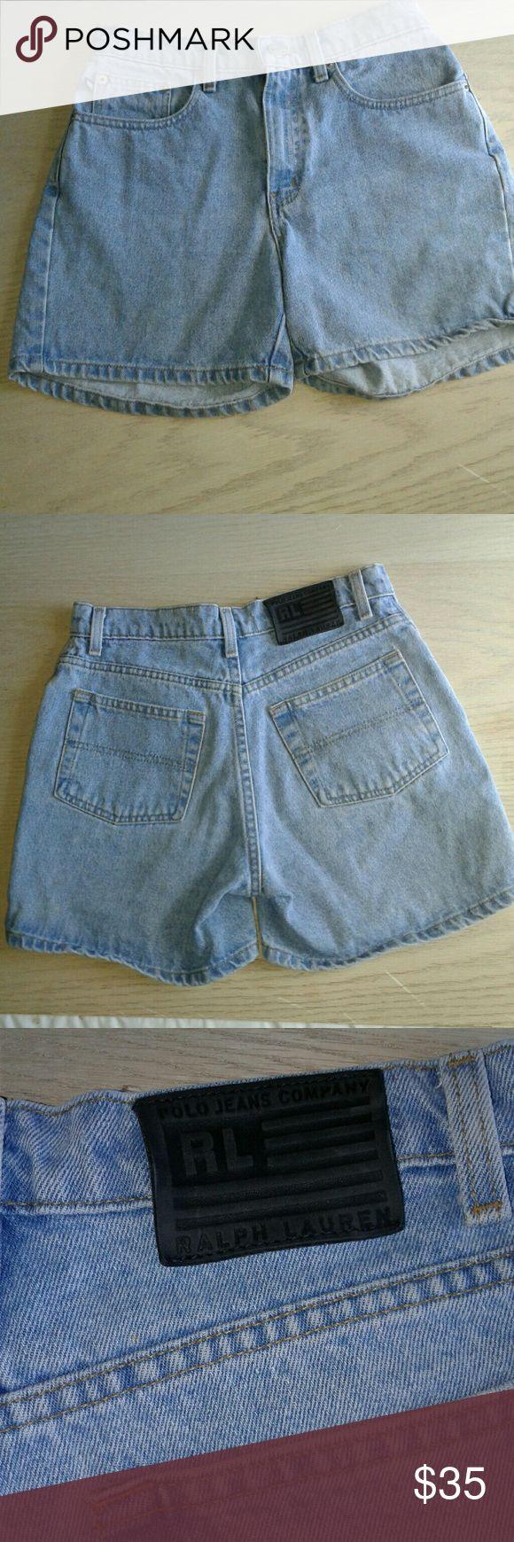 Vintage RL polo jean shorts high waist black label Vintage mom jeans High waisted  100% cotton  pockets  6 short Black label Polo by Ralph Lauren Jeans