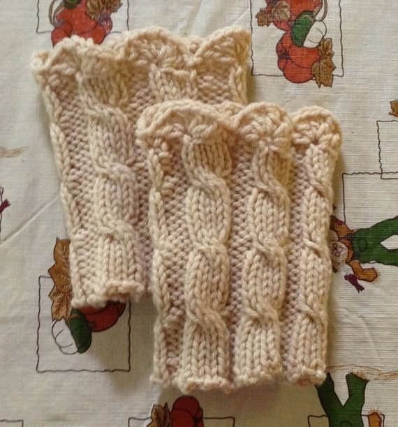 Cable Oatmeal Boot cuffs, Boot socks