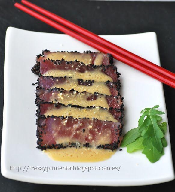 Desde fresa & pimienta: Tiradito de atún con tamarindo y leche de tigre.