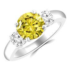 2ct Canary Yellow Diamond Three Stone Engagement Ring