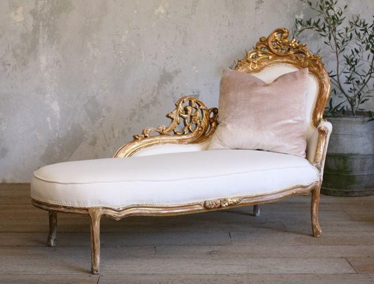 Vintage Shabby Chic Gilt Rococo French Style Chaise