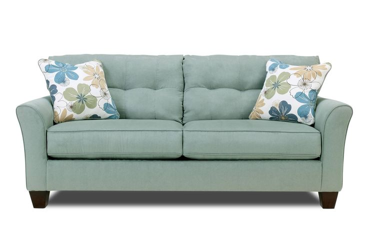 Kylee Lagoon Sofa from Living Spaces - LOVE the blue, and the flower pillows!  So pretty.
