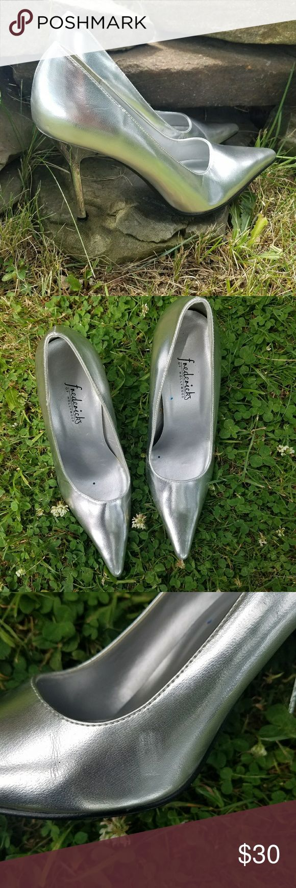 Frederick's of Hollywood Metallic Pumps GUC with some scuffing shown in photos  Size 6.5 width M. No box. Frederick's of Hollywood Shoes Heels