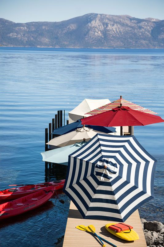 Umbrellas by the lake. I would love to relax here