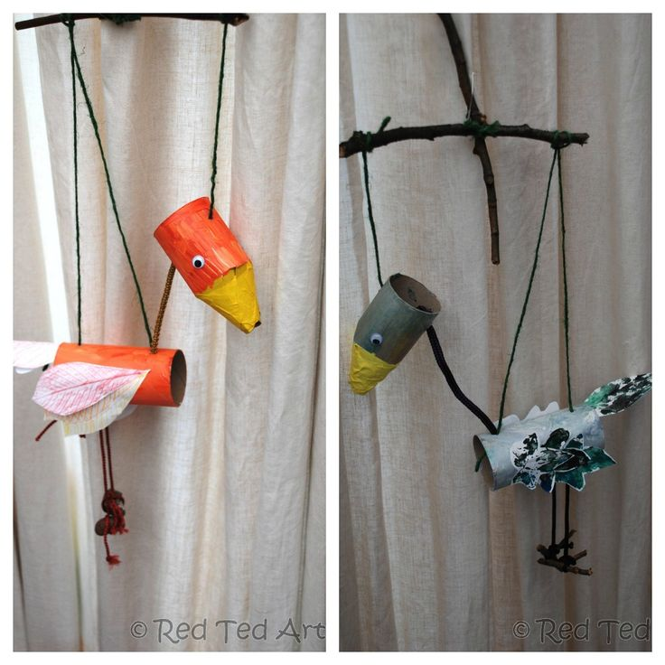 Red Ted art: marionette birds using toilet paper rolls, sticks, and paint.