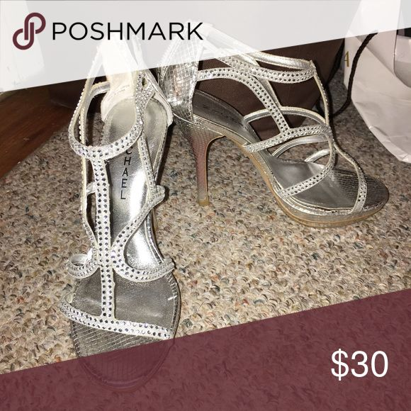 Silver Sparkly Heels Strappy silver heels with rhinestone accents, worn only once for prom. Buy now for your prom!  Don't like the price? Make an offer :) Shoes Heels