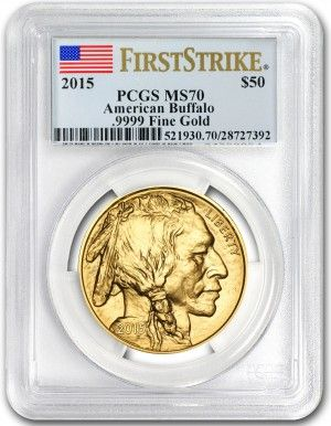 The American Buffalo Series of Gold Coins has proven to be one of the most popular releases of its kind in history! This design was adapted from the famous Buffalo Nickels that were circulating U.S. coinage until 1938. For that reason, the designs remain very popular with collectors today, which has been a huge attraction for the Buffalo Gold Coins. For collectors and investors that demand the finest, Austin Rare Coins is offering these 2015 Buffalo Gold Coins graded by PCGS.