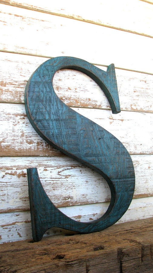Big Wooden Letter S Painted Distressed by SecondNatureWoodwork