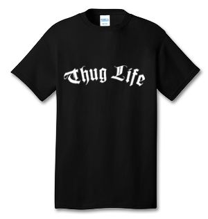 "$12.99 | SHAKUR 96 100% Cotton Tee Shirt #A002  Tee Jay's Tee Shirts give you great quality at the best value. Our Tee Shirts are 100% cotton and have a tag-free label.  Design Reads:  Thug Life  100% Cotton Tee Shirt Features:  Tag-free label Coverseamed neck Shoulder-to-shoulder taping Double-needle hem Ash is 98/2 cotton/polyester  ""ASK US ABOUT CUSTOM ORDERS & OTHER DESIGN SERVICES!* EMAIL - Tony@TeeJays.online  https://teejays.online/products/a003-thug-life-design"