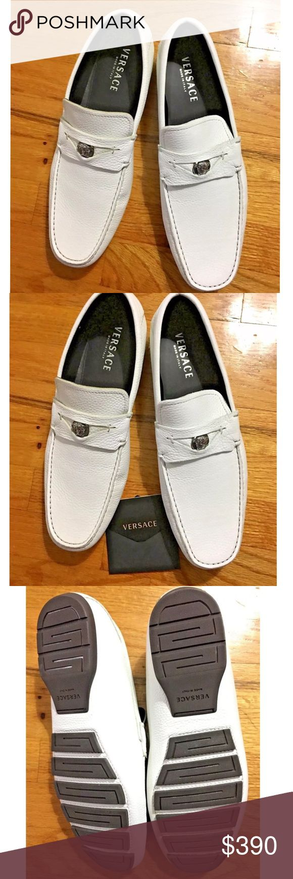 Versace Men's White Loafer Leather Shoes Sz 12 Versace Men's White Loafer Leather Italy Car Shoes US Sz 12 Euro Sz 45 Driving Moccasins Leather Material Made in Italy Retail $525 Versace Shoes Loafers & Slip-Ons