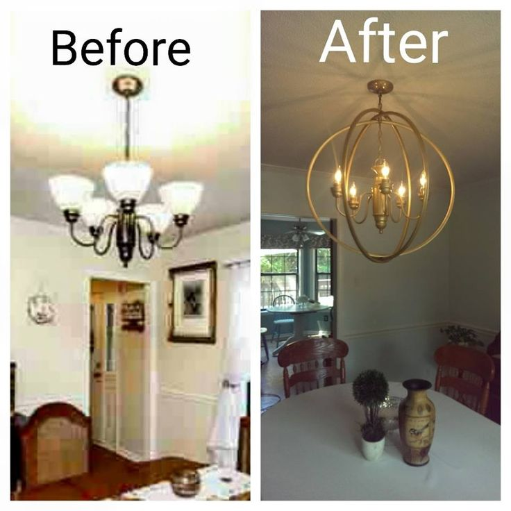 Hula Hoop Chandelier!  Instructions: Take down your old ugly chandelier and remove globes, wipe off really good.  Spray paint color of your choice.  Replace light bulbs with candle shaped bulbs. Get three small hula hoops, spray paint and let dry really really good. Use jewelry wire and clamps to attach them to the chandelier chain.  Arrange hoops so that they are evenly distributed around your light.  Boom!  Brand new chandelier.