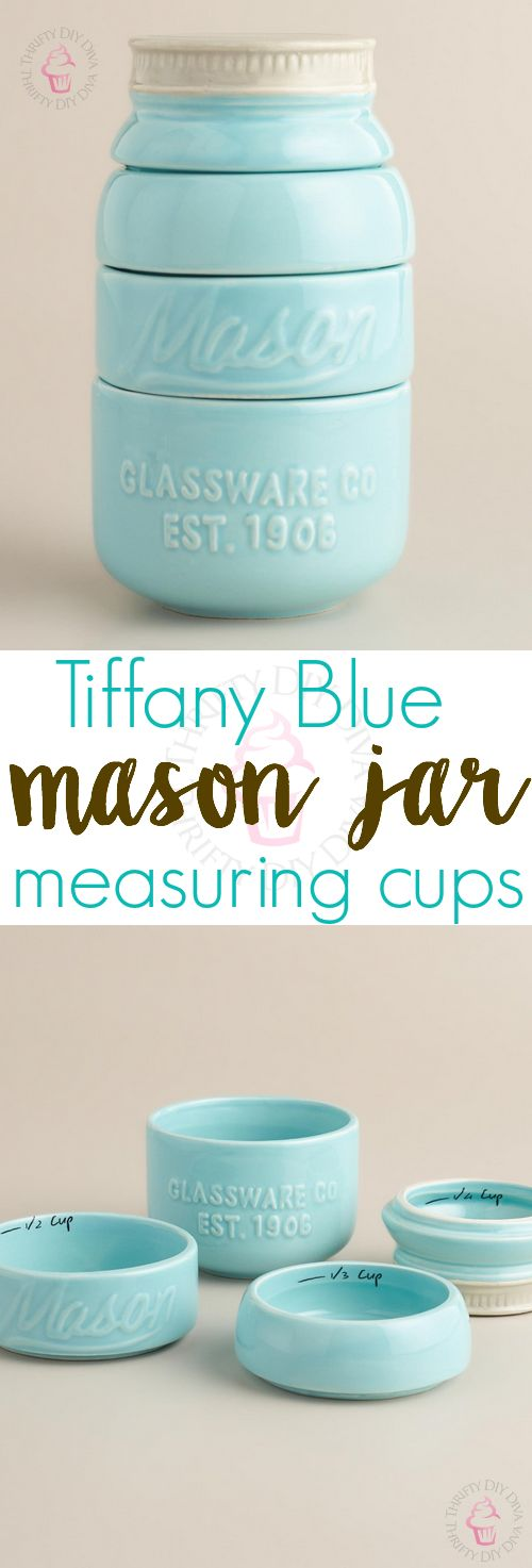 Mason Jar Messuring Cups, Home Decor For The Kitchen, Teal Mason Jar, Love photo - 6
