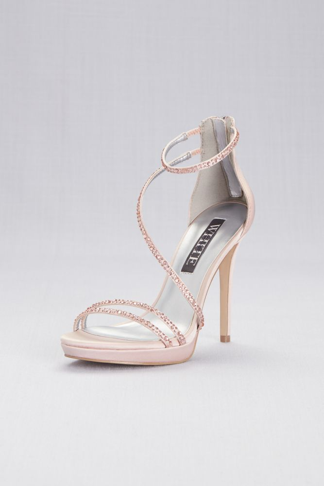 258c4cb3a59a Pearlized Platform Sandals with Scalloped Edges. Strappy Crystal-Trimmed Stiletto  Heels with Zipper Style VWFS95822