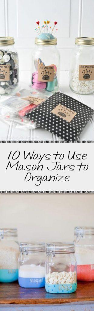 Organizing, mason jar organization, DIY organization projects, DIY mason jar projects, popular pin, organize, easy organization, home organization.