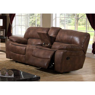 AC Pacific Leighton Transitional Glider Reclining Loveseat with Storage Console - LEIGHTON-ELK-GRL