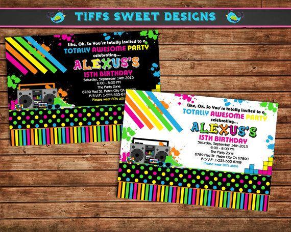 80's Party Invitation - 80s Party - Eighties Party - Retro Invite - Birthday Party Invitation - Printable - on Etsy, $10.50