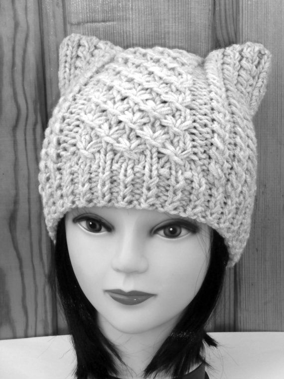 Cat Ear Hat Knit Cat Ear Hat Cat Beanie Womens by NataKnitwork