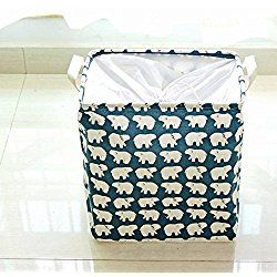 Nursery Folding Storage Bins With Lids Storage Boxes For Clothes Toy Boxes or Chests for Boys and Girls Laundry Basket Shelf Baskets Picnic Backpacks (Blue polar bear)