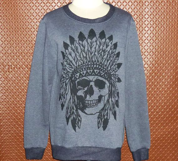 Mohawks sweatshirt Skull t-shirt native by BlackTeenFashion Mohawks sweatshirt Skull t-shirt\ native american \ jumper sweatshirt \sweater vintage \ metal sweater \ native american clothing \winter $21.99 USD