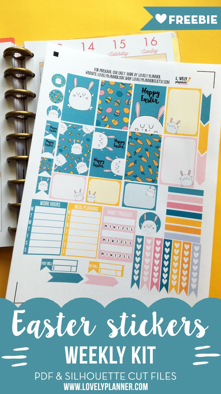 FREE weekly set of Easter planner stickers for your happy planner, erin condren life planner... Lots of free planner printables on lovelyplanner.com