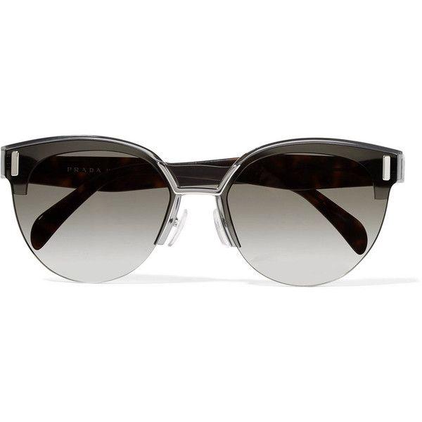 Prada Cat-eye acetate and silver-tone sunglasses ($385) ❤ liked on Polyvore featuring accessories, eyewear, sunglasses, grey, rimless glasses, tortoiseshell sunglasses, retro cat eye glasses, tortoise shell cat eye sunglasses and prada glasses