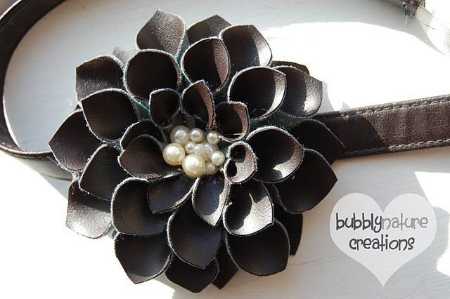 Genius leather flower tutorial from Bubbly Nature #DIY #flower #craft