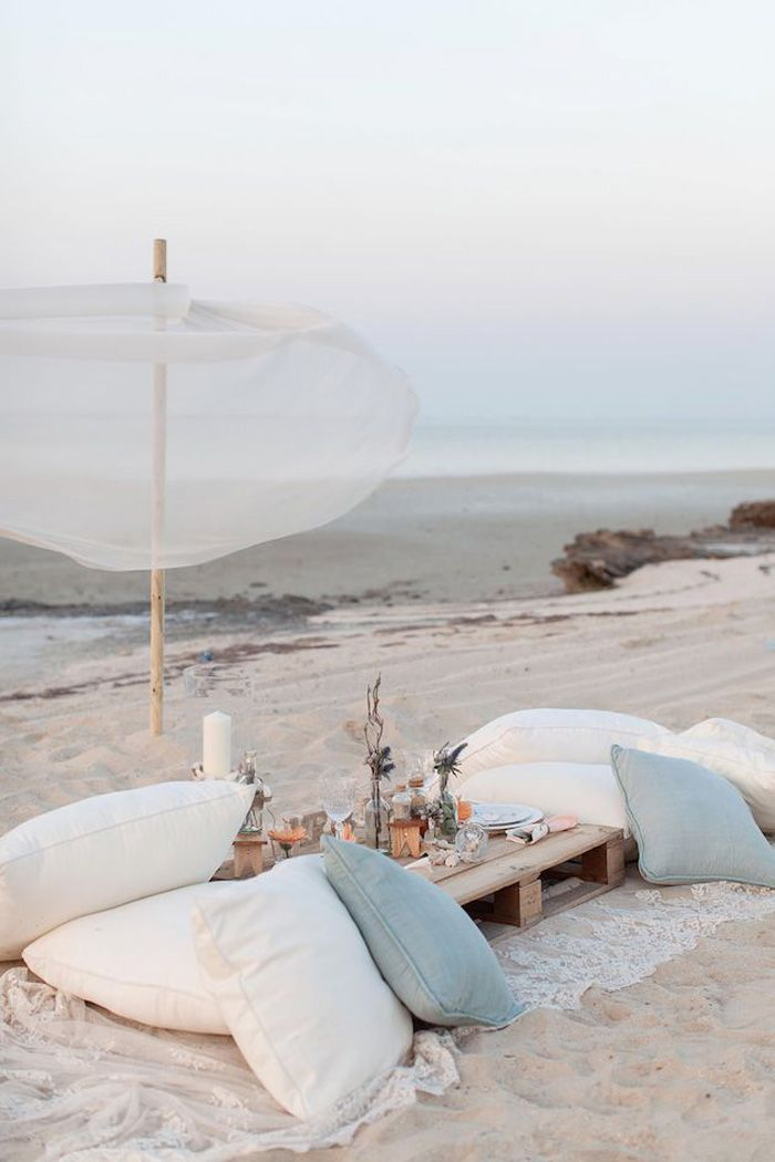 Beach wedding pillow seating. Source: valleyandco.com #weddingseating #pillowseating #beachwedding