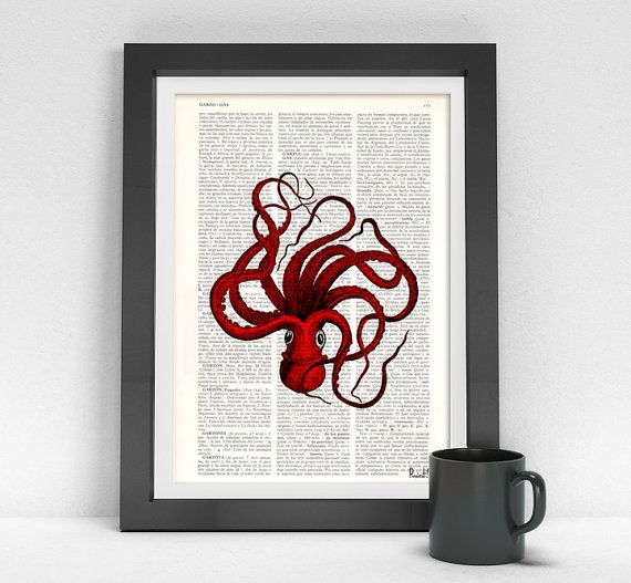 Art Prints, Octopus art, Red Octopus Print on Vintage Book page, Wall art home decor, octopus print, giclee print, sealife art BPSL045