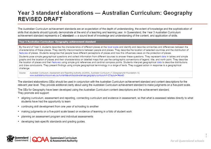 Year 3 Geography standard elaborations