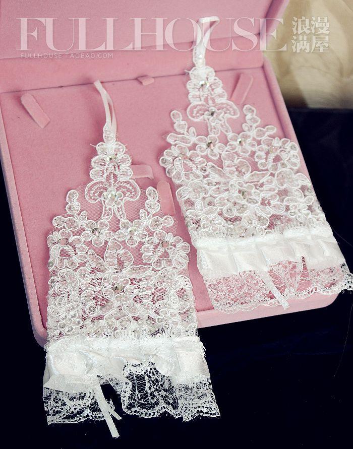 Слива кружева свадебные перчатки ультра-короткие белые платья с ювелирных изделий флэш шаблон края перчатки без пальцев два - Taobao