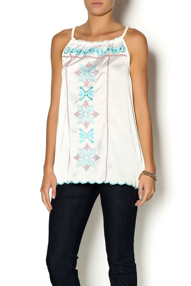 Beautiful silk sleeveless blouse with turquoise and red embroidery and unique rope straps. Pair this beauty with our matching Aztec jean for a flirty fun look.   Aztec Sheer Tank by Cowgirl Up. Clothing - Tops - Sleeveless Clothing - Tops - Blouses & Shirts Oklahoma