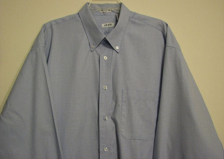 IZOD XL 80's 2 Ply Oxford Long Sleeve Pocket Button Down Dress Shirt Blue Plaid #IZOD