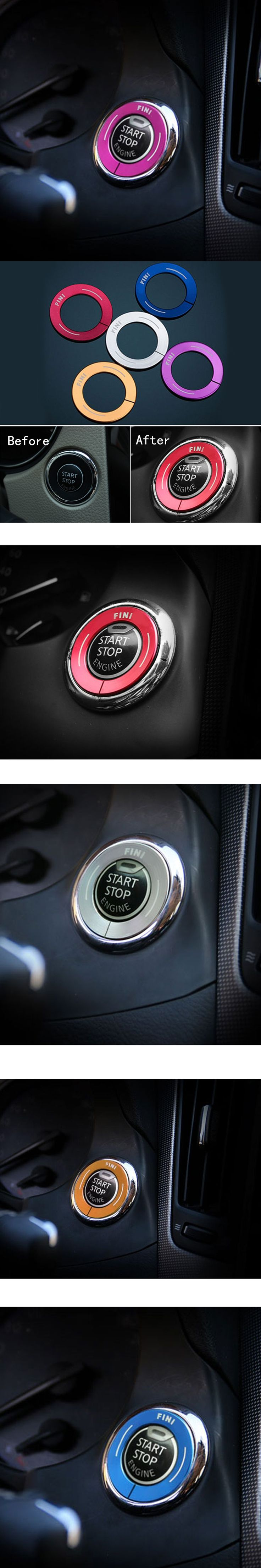 Stainless Steel Ignition Key Cover Sticker For Infiniti Q50 Q50L QX50 QX60 JX QX70 Q70L Button Ignition Switch Decorative Circle