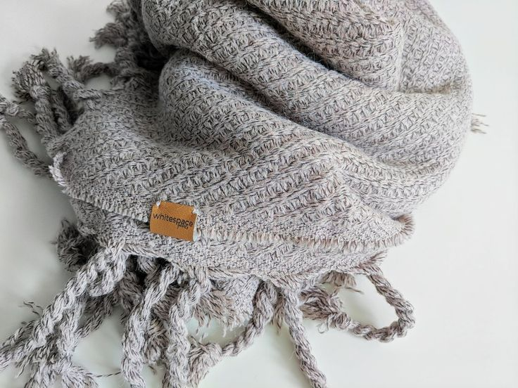 Greige Twisted Tassel Blanket Scarf