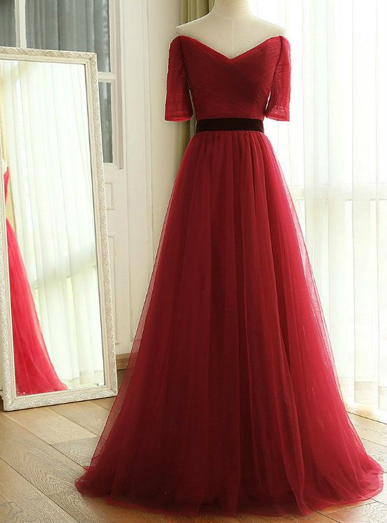 0a2b4eea063dc6 2017 New Wine Red Long Floor Length Off The Shoulder Ruched Tulle  Bridesmaid Dresses