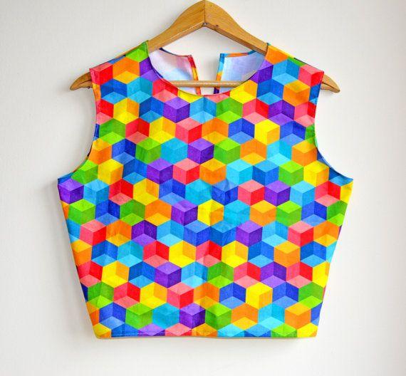 SLAE Crop top for women, crop top, geometric print top, crop top and skirt set, open back top, boheme shirt, multicoloured crop top