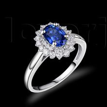 Elegant 5x7mm Oval Tanzanite Diamond Ring In 18Kt White Gold Engagement Rings Made By Brilliant Design Jewelry