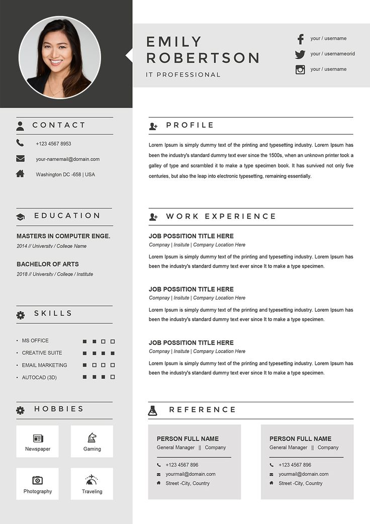 Resume Templates to download in Word Format CV2Resume in