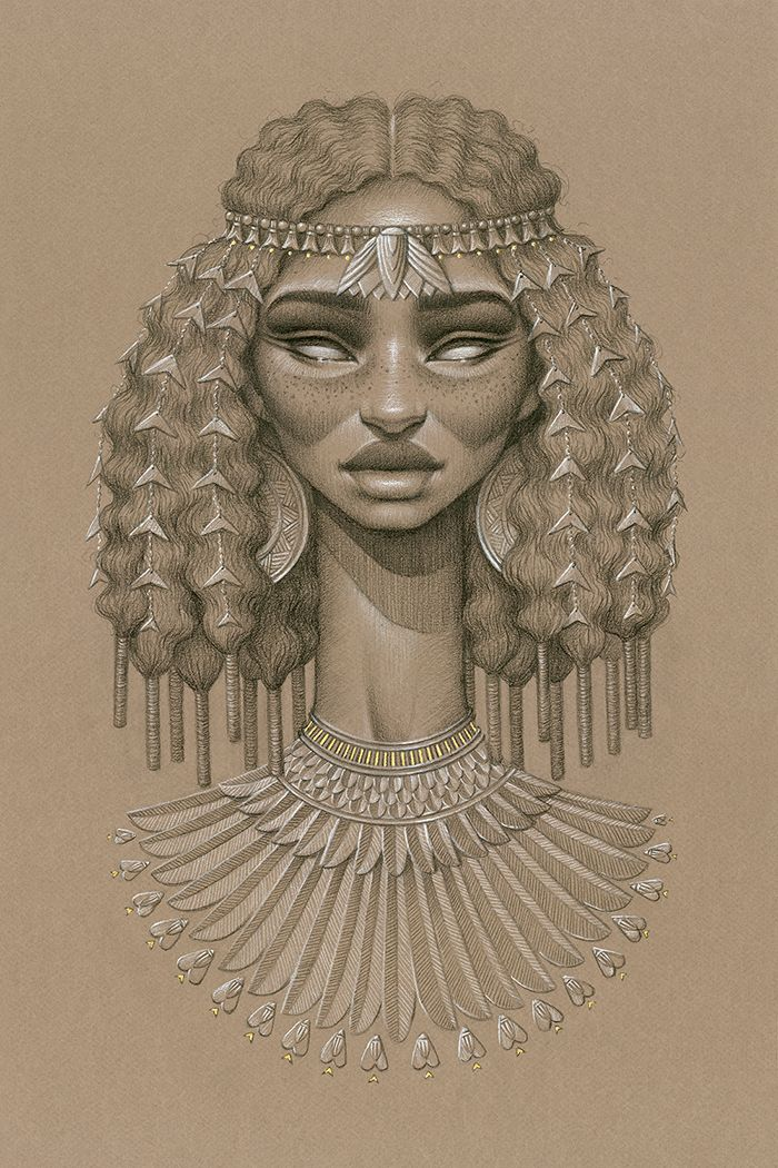 """""""Nefertum"""" by Sara Golish Charcoal, conté & gold ink on toned paper. 21.5"""" x…"""
