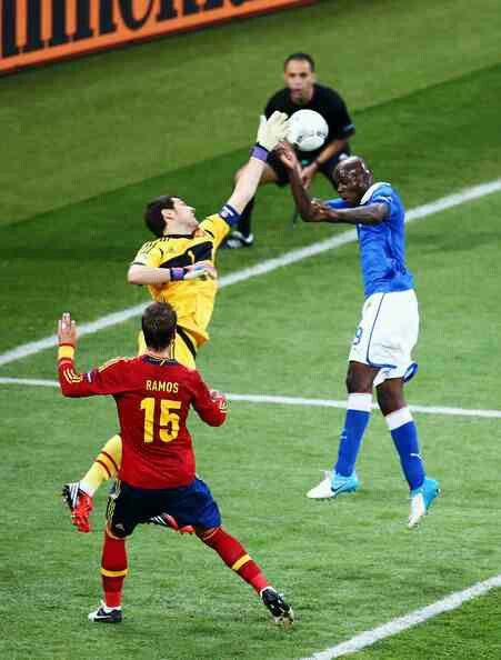 Spain 4 Italy 0 in 2012 in Kiev. Iker Casillas just gets a touch on the ball with Mario Balotelli lurking behind in the Euro 2012 Final.