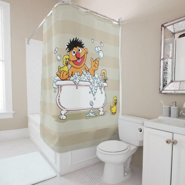 Vintage Ernie In Bathtub Shower Curtain Zazzle Com Shower Curtain Monogram Bathtub Shower Budget Bathroom Remodel