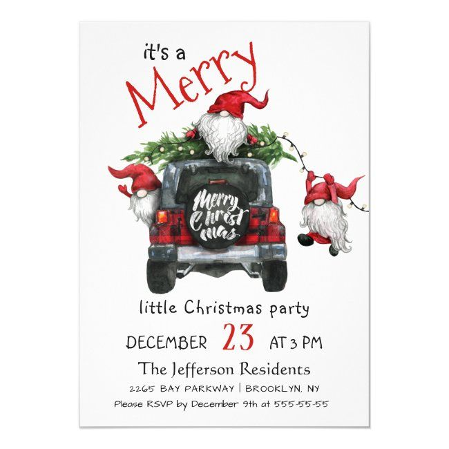 East Coast Christmas On The Parkway 2021 Cute Watercolor Red Gnomes Little Christmas Party Invitation Zazzle Com In 2021 Christmas Party Invitations Christmas Invitations Holiday Party Invitations