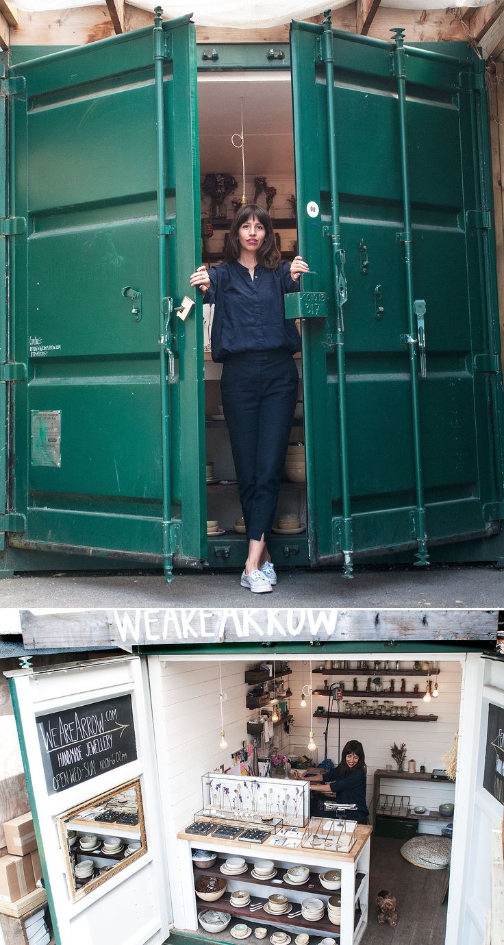 """Artist sells and works in old revamped shipping container!  """"WeAreArrow opening the doors and a broad shot"""""""