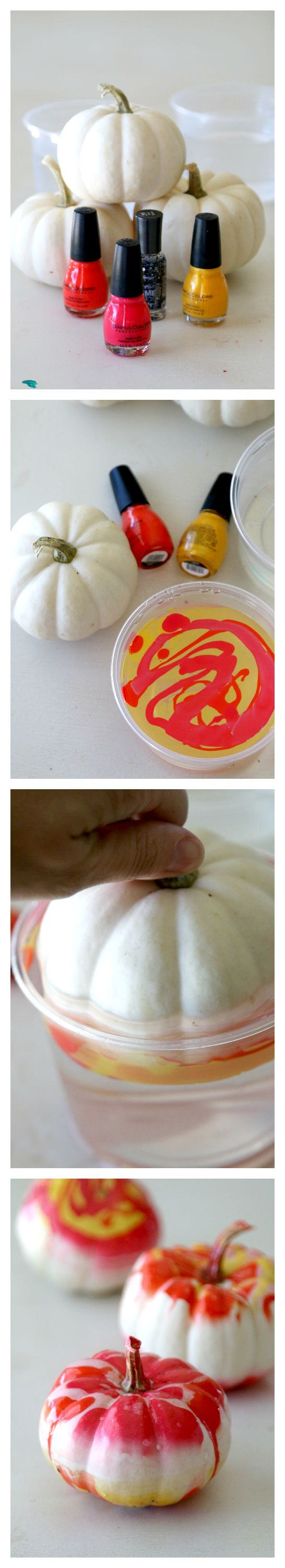 Marbling a Pumpkin, Easy Step by Step tutorial to this fun and unique No Carve pumpkin craft, great for glamming up the holidays with any left over nail polish
