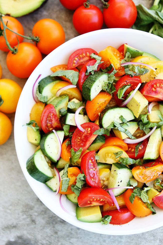 Tomato, Cucumber, and Avocado Salad Recipe on twopeasandtheirpod.com This fresh, easy, and colorful summer salad goes great with any meal. It is my favorite summer salad!