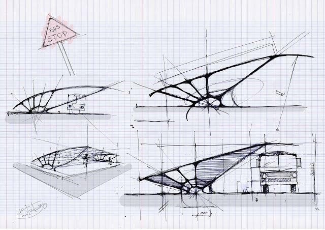 Bus shelter conceptual sketches                                                                                                                                                                                 More