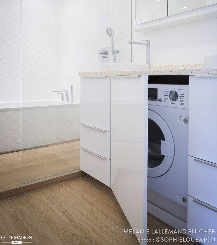 Les 25 meilleures id es concernant salle de bains compl te - Machine a laver petite taille ...