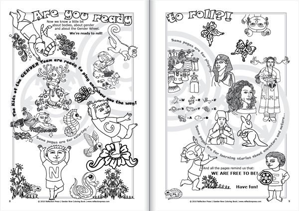 Sample Page From Gender Now Coloring Book Showing Gender Wheel Rolling And Spinning Coloring Books Children S Books Gender