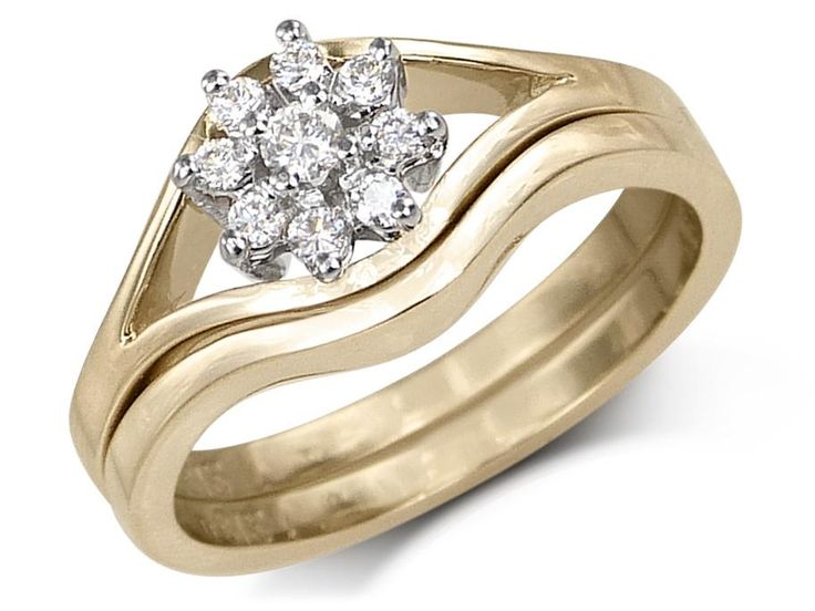 Flower setting with 9 diamondsOpenwork ring with plain matching bandCenter diamond weight: .04ct Small diamond weight: .10ct Total diamond weight. 14ct Gold: 14 karat